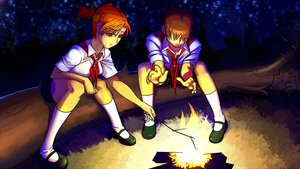 Rating: Safe Score: 0 Tags: branch brown_hair campfire dvach-tan eroge fire game_cg highres male necktie night orange_hair outdoors pioneer pioneer_necktie pioneer_uniform red_eyes semyon_(character) shirt short_hair sitting sky socks stars twintails User: (automatic)Anonymous