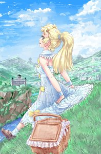 Rating: Safe Score: 0 Tags: 1girl basket blonde_hair bow breasts castle cloud dress f2d_(artist) frills grass green_eyes long_hair mountains outdoors ponytail shoes sitting sky socks solo User: (automatic)Anonymous