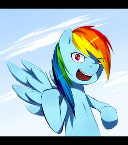 Rating: Safe Score: 0 Tags: animal /bro/ letterboxed multicolored_hair my_little_pony no_humans outdoors pegasus pony rainbow_dash sky smile wings User: (automatic)Anonymous