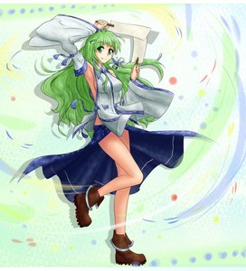 Rating: Safe Score: 0 Tags: armpit boots detached_sleeves gohei green_eyes green_hair hater_(artist) kochiya_sanae long_hair smile /to/ touhou wind User: (automatic)nanodesu