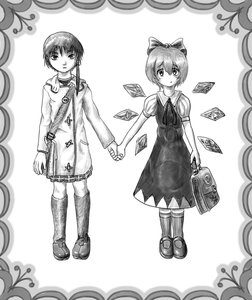 Rating: Safe Score: 1 Tags: bag bow cirno crossover dress holding_hands iwakura_lain monochrome serial_experiments_lain short_hair simple_background touhou wings User: (automatic)nanodesu