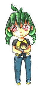 Rating: Safe Score: 0 Tags: ahoge bomb-chan bomb-kun braid chibi denim glasses green_hair highres long_hair red_eyes shirt simple_background toy t-shirt twin_braids User: (automatic)nanodesu
