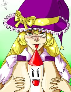 Rating: Explicit Score: 0 Tags: blonde_hair blush bow breasts breast_squeeze has_child_posts hat kirisame_marisa long_hair no_bra sexually_suggestive /to/ tongue touhou touhou_(pc-98) witch_hat yellow_eyes User: (automatic)Anonymous