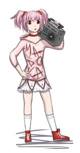 Rating: Safe Score: 0 Tags: alternate_costume kaname_madoka mahou_shoujo_madoka_magica pink_hair red_eyes simple_background tape_recorder twintails User: (automatic)nanodesu