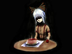 Rating: Safe Score: 0 Tags: bow cake food fujiwara_no_mokou fujiwara_no_mokou_(artist) glass silver_hair sitting table touhou User: (automatic)nanodesu