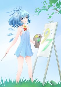 Rating: Safe Score: 0 Tags: blue_eyes blue_hair brush canvas cirno dragonfly dress easel flower frog grass ice madskillz_thread_oppic paint painting ribbon short_hair smile sunflower tree tripod wings User: (automatic)lol.me