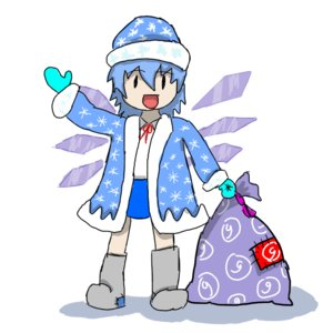 Rating: Safe Score: 0 Tags: ⑨ baka blue_hair cirno ded_moroz gift hat new_year russian sack touhou valenki wings winter_clothes User: (automatic)timewaitsfornoone