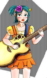 Rating: Safe Score: 0 Tags: 1girl alternate_hairstyle blush dress green_eyes green_hair guitar hair_flower horns idleantics_(artist) instrument lum music /o/ oekaki ponytail singing solo tears urusei_yatsura User: (automatic)nanodesu