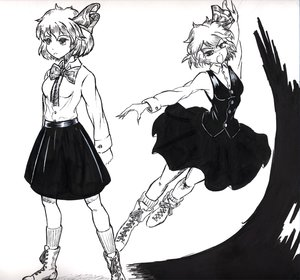 Rating: Safe Score: 0 Tags: 1girl boots monochrome open_mouth ribbon rumia shirt short_hair skirt socks /to/ touhou traditional_media vest User: (automatic)Anonymous