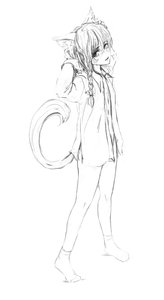 Rating: Safe Score: 0 Tags: 1girl bare_legs braid cat_ears full_body has_child_posts long_hair monochrome shirt sketch socks standing tail User: (automatic)Anonymous