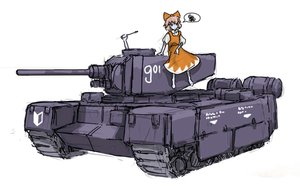 Rating: Safe Score: 0 Tags: alternative bow cirno dress orange_hair panzermeido_(artist) simple_background tank touhou User: (automatic)nanodesu