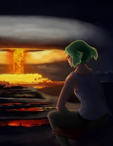 Rating: Safe Score: 0 Tags: bomb-chan cigarette explosion from_behind glasses green_hair mushroom_cloud outdoors short_hair sitting smoking top User: (automatic)nanodesu