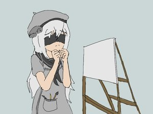 Rating: Safe Score: 0 Tags: 1girl 2draw-chan apron beret blindfold brush canvas clenched_hands easel grey_background grey_dress grey_hair long_hair pen personification phone sailor_collar school_uniform simple_background User: futsu