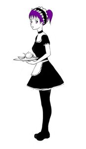 Rating: Safe Score: 0 Tags: apron black_legwear collar cup dress maid maid_headdress maid_outfit monochrome ponytail purple_eyes purple_hair simple_background teapot thighhighs tray zettai_ryouiki User: (automatic)nanodesu
