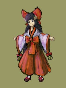 Rating: Safe Score: 0 Tags: bell black_eyes black_hair bow fujiwara_no_mokou_(artist) horns japanese_clothes long_hair miko miko_outfit muse simple_background tenshi_ni_narumon traditional_clothes User: (automatic)nanodesu