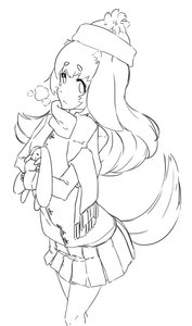 Rating: Safe Score: 0 Tags: animal_ears has_child_posts hat long_hair monochrome oxykoma_(artist) scarf sketch skirt tail toy trembling User: (automatic)Anonymous