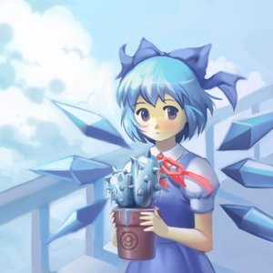 Rating: Safe Score: 0 Tags: ⑨ blue_eyes blue_hair blush bow cactus cirno cloud dress ribbon short_hair sky touhou wind User: (automatic)nanodesu