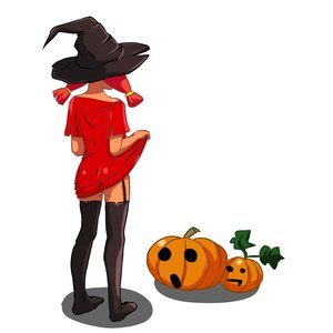 Rating: Questionable Score: 0 Tags: 1girl ass black_legwear bottomless from_behind garter_straps halloween hat hudozhnik-kun_(artist) pumpkin pumpkin_lantern red_hair shirt shirt_lift simple_background surprised /tan/ thighhighs t-shirt twintails ussr-tan witch_hat User: (automatic)Anonymous