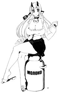 Rating: Safe Score: 0 Tags: animal_ears bell breasts cleavage collar cow cow_ears cow_girl ear_label highres horns large_breasts long_hair milk monochrome oxykoma_(artist) skirt User: (automatic)Anonymous