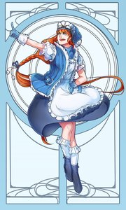 Rating: Safe Score: 0 Tags: 1girl apron blue_eyes boots braid gloves goggles hand_on_hip hat kneesocks long_hair maid_headdress open_mouth orange_hair pointing solo very_long_hair User: (automatic)Anonymous