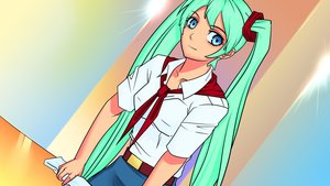 Rating: Safe Score: 0 Tags: aqua_hair blue_eyes dutch_angle eroge game_cg hatsune_miku hatsune_miku_(eroge) highres long_hair necktie pioneer pioneer_necktie pioneer_uniform shirt table twintails very_long_hair vocaloid User: (automatic)Anonymous
