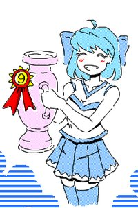 Rating: Safe Score: 0 Tags: ^_^ 1girl alternate_costume blue_hair bow cirno happy idleantics_(artist) lowres /o/ oekaki shirt short_hair skirt solo sportswear thighhighs touhou t-shirt zettai_ryouiki User: (automatic)nanodesu
