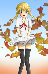 Rating: Safe Score: 0 Tags: black_legwear blonde_hair blue_eyes blush braid embarrassed leaf long_hair maple panties slavya-chan thighhighs twin_braids upskirt wind User: (automatic)nanodesu