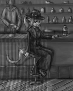 Rating: Safe Score: 0 Tags: animal_ears bar cat_ears cigarette glass hat monochrome noir ponytail sitting smoking tail User: (automatic)nanodesu
