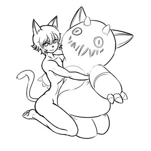 Rating: Questionable Score: 0 Tags: animal_ears champion_of_tzeentch_(artist) horns hug monochrome nude short_hair simple_background sitting tagme tail toy User: (automatic)Anonymous