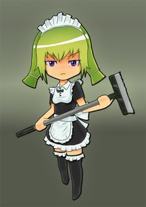 Rating: Safe Score: 0 Tags: :< apron black_legwear broom chibi dress frills green_hair maid maid_headdress maid_outfit purple_eyes simple_background thighhighs twintails walking zettai_ryouiki User: (automatic)nanodesu