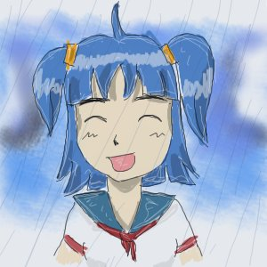 Rating: Safe Score: 0 Tags: ahoge blue_hair closed_eyes happy madskillz oekaki open_mouth rain school_uniform twintails unyl-chan User: (automatic)timewaitsfornoone