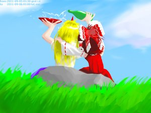 Rating: Safe Score: 0 Tags: 2girls alcohol blonde_hair bottle bow brown_hair detached_sleeves drinking f2d_(artist) from_behind hakurei_reimu horns hoshiguma_yuugi hug long_hair nature outdoors sitting sky /to/ touhou User: (automatic)nanodesu
