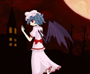 Rating: Safe Score: 0 Tags: blue_hair curly_hair fang from_behind hat highres moon night outdoors red_eyes remilia_scarlet short_hair sky touhou wings User: (automatic)nanodesu