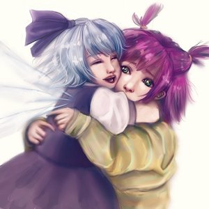 Rating: Safe Score: 0 Tags: 2girls blue_hair bow cirno closed_eyes dress green_eyes happy hug purple_hair short_hair touhou twintails unyl-chan wings User: (automatic)nanodesu