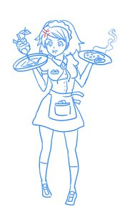 Rating: Safe Score: 0 Tags: anger_vein angry apron dress food glass has_child_posts maid maid_headdress maid_outfit monochrome rudik_(artist) short_hair simple_background sketch socks User: (automatic)nanodesu