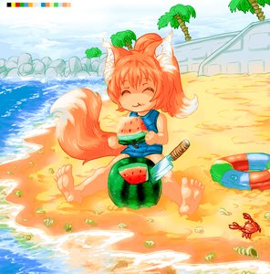 Rating: Safe Score: 0 Tags: ^_^ 16_colors 1girl animal_ears bare_hands bare_legs beach blush crab eating fox fox_ears fox_tail knife loli lolifox palm_(tree) pincers ponytail red_hair rubber_ring sand school_swimsuit sea shell solo stone swimsuit tail wall water watermelon User: (automatic)Willyfox