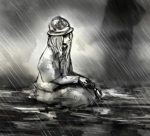 Rating: Safe Score: 0 Tags: 1girl helmet long_hair monochrome rain sitting solo_focus water User: (automatic)Anonymous