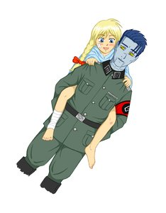 Rating: Safe Score: 1 Tags: alternate_costume bandages bandaid barefoot belt blonde_hair blue_eyes blue_hair blue_skin blush bow braid carrying dobrochan.ru male military_uniform nazi nimrod_rn1015 short_hair simple_background slavya-chan smile /tan/ twin_braids User: (automatic)nanodesu