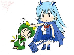 Rating: Safe Score: 0 Tags: ⑨ alternate_costume /b/ banhammer banhammer-tan blue_hair cirno green_hair skirt tagme touhou User: (automatic)last