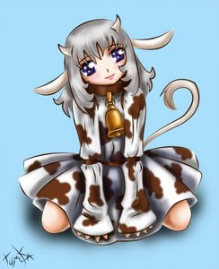 Rating: Safe Score: 0 Tags: animal_ears bell blue_eyes cow_girl dress grey_hair horns long_hair silver_hair simple_background sitting tail User: (automatic)nanodesu