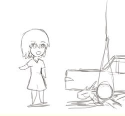 Rating: Safe Score: 1 Tags: animated car chibi falling half-life half-life_2 headcrab monochrome parody rope short_hair sketch smile walking User: (automatic)nanodesu