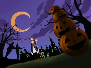 Rating: Safe Score: 0 Tags: /an/ brown_hair cloud crown dutch_angle halloween moon night outdoors pumpkin pumpkin_lantern silhouette sky tree umineko_no_naku_koro_ni ushiromiya_maria User: (automatic)nanodesu