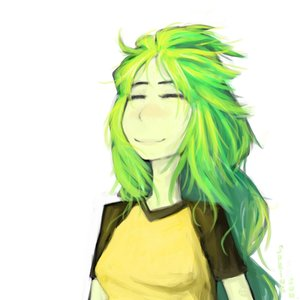 Rating: Safe Score: 0 Tags: blush bomb-chan bomb-kun_(artist) braid closed_eyes green_hair happy long_hair shirt simple_background t-shirt twin_braids User: (automatic)nanodesu