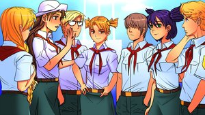 Rating: Safe Score: 0 Tags: blonde_hair blue_eyes braid brown_eyes brown_hair crowd dvach-tan electronic-kun eroge everyone game_cg glasses green_eyes hat highres long_hair male mod-chan necktie orange_hair pioneer pioneer_necktie pioneer_uniform purple_hair red_eyes semyon_(character) shirt short_hair shurik slavya-chan twin_braids User: (automatic)Anonymous
