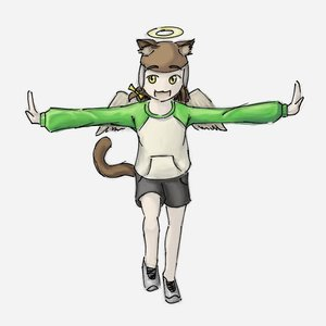 Rating: Safe Score: 0 Tags: animal_ears bow braid brown_hair cat_ears cosplay haibane_renmei halo happy kuu shorts simple_background spread_arms tail uvao-chan wings yellow_eyes User: (automatic)nanodesu