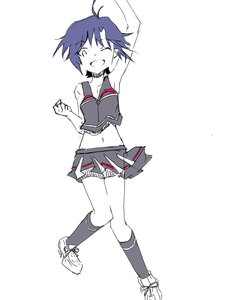 Rating: Safe Score: 0 Tags: 1girl blue_hair character_request cheerleader jumping kneesocks midriff navel open_mouth short_hair sketch skirt smile solo tagme wink User: (automatic)Anonymous