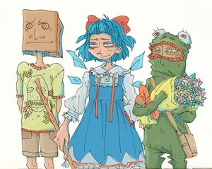 Rating: Safe Score: 0 Tags: animal_costume anonymous bag bag_on_head blue_hair bow cirno dress flower frog frog_costume shirt shorts simple_background touhou t-shirt wings User: (automatic)Anonymous