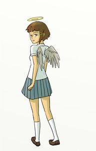 Rating: Safe Score: 0 Tags: /abe/ brown_eyes brown_hair cosplay haibane_renmei hairpin halo iwakura_lain parody serial_experiments_lain short_hair simple_background wings User: (automatic)nanodesu