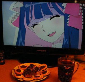 Rating: Safe Score: 0 Tags: ^_^ 2d_dating blue_hair bow cake closed_eyes computer cookies food panty_&_stocking_with_garterbelt photo smile stocking_(character) tea teeth User: (automatic)timewaitsfornoone