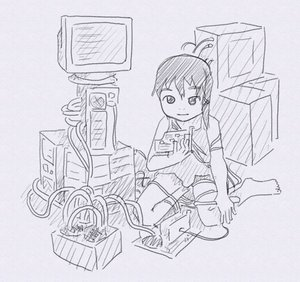 Rating: Safe Score: 1 Tags: computer hairpin iwakura_lain monochrome serial_experiments_lain short_hair sitting sketch wire wires User: (automatic)Anonymous